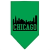 Mirage Pet Products Chicago Skyline Screen Print Bandana Emerald Green Large