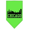 Mirage Pet Products Chicago Skyline Screen Print Bandana Lime Green Small
