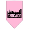 Mirage Pet Products Chicago Skyline Screen Print Bandana Light Pink Large