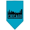 Mirage Pet Products Chicago Skyline Screen Print Bandana Turquoise Small