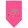 Mirage Pet Products Feliz Navidad Screen Print Bandana Bright Pink Large