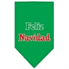 Mirage Pet Products Feliz Navidad Screen Print Bandana Emerald Green Small