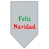 Mirage Pet Products Feliz Navidad Screen Print Bandana Grey Large