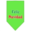 Mirage Pet Products Feliz Navidad Screen Print Bandana Lime Green Large
