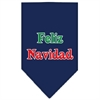 Mirage Pet Products Feliz Navidad Screen Print Bandana Navy Blue large