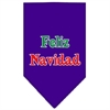 Mirage Pet Products Feliz Navidad Screen Print Bandana Purple Large