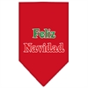Mirage Pet Products Feliz Navidad Screen Print Bandana Red Small