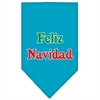 Mirage Pet Products Feliz Navidad Screen Print Bandana Turquoise Large