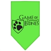 Mirage Pet Products Game of Bones Screen Print Bandana Lime Green Small