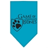 Mirage Pet Products Game of Bones Screen Print Bandana Turquoise Small