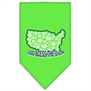 Mirage Pet Products God Bless USA Screen Print Bandana Lime Green Large