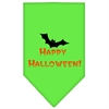 Mirage Pet Products Happy Halloween Screen Print Bandana Lime Green Large