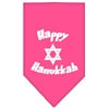 Mirage Pet Products Happy Hanukkah Screen Print Bandana Bright Pink Large