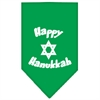 Mirage Pet Products Happy Hanukkah Screen Print Bandana Emerald Green Small