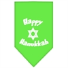 Mirage Pet Products Happy Hanukkah Screen Print Bandana Lime Green Large