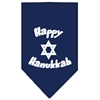 Mirage Pet Products Happy Hanukkah Screen Print Bandana Navy Blue Small