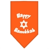 Mirage Pet Products Happy Hanukkah Screen Print Bandana Orange Small