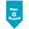 Mirage Pet Products Happy Hanukkah Screen Print Bandana Turquoise Large