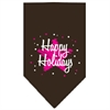 Mirage Pet Products Scribble Happy Holidays Screen Print Bandana Cocoa Small
