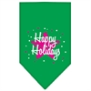 Mirage Pet Products Scribble Happy Holidays Screen Print Bandana Emerald Green Large