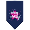 Mirage Pet Products Scribble Happy Holidays Screen Print Bandana Navy Blue large