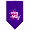 Mirage Pet Products Scribble Happy Holidays Screen Print Bandana Purple Large