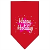 Mirage Pet Products Scribble Happy Holidays Screen Print Bandana Red Large