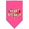 Mirage Pet Products Heart Breaker Screen Print Bandana Bright Pink Large
