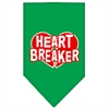 Mirage Pet Products Heart Breaker Screen Print Bandana Emerald Green Large