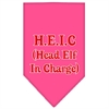 Mirage Pet Products Head elf In Charge Screen Print Bandana Bright Pink Large