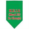 Mirage Pet Products Head elf In Charge Screen Print Bandana Emerald Green Large