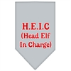 Mirage Pet Products Head elf In Charge Screen Print Bandana Grey Large