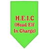 Mirage Pet Products Head elf In Charge Screen Print Bandana Lime Green Large