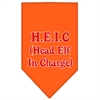Mirage Pet Products Head elf In Charge Screen Print Bandana Orange Large