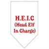 Mirage Pet Products Head Elf In Charge Screen Print Bandana White Small