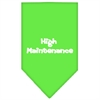 Mirage Pet Products High Maintenance Screen Print Bandana Lime Green Small
