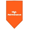 Mirage Pet Products High Maintenance Screen Print Bandana Orange Small