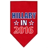 Mirage Pet Products Hillary in 2016 Election Screenprint Bandanas Red Small