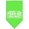 Mirage Pet Products Hungry I Am Screen Print Bandana Lime Green Large