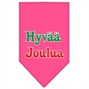 Mirage Pet Products Hyvaa Joulua Screen Print Bandana Bright Pink Small