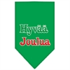 Mirage Pet Products Hyvaa Joulua Screen Print Bandana Emerald Green Large
