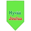 Mirage Pet Products Hyvaa Joulua Screen Print Bandana Lime Green Small