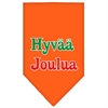 Mirage Pet Products Hyvaa Joulua Screen Print Bandana Orange Large