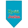 Mirage Pet Products Hyvaa Joulua Screen Print Bandana Turquoise Small