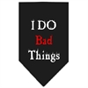 Mirage Pet Products I Do Bad Things  Screen Print Bandana Black Small