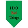 Mirage Pet Products I Do Bad Things  Screen Print Bandana Emerald Green Small