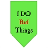 Mirage Pet Products I Do Bad Things  Screen Print Bandana Lime Green Large