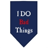 Mirage Pet Products I Do Bad Things  Screen Print Bandana Navy Blue Small