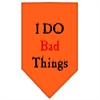 Mirage Pet Products I Do Bad Things  Screen Print Bandana Orange Small
