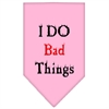 Mirage Pet Products I Do Bad Things  Screen Print Bandana Light Pink Large